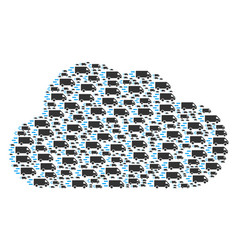 cloud figure of fast delivery car icons vector image