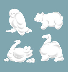 Cloud silhouettes animals and birds set vector