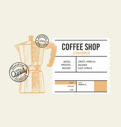 coffee package with text and coffee maker pot vector image