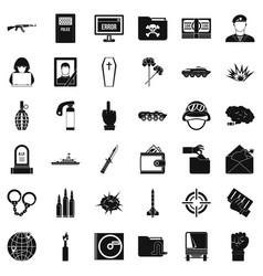 Cold war icons set simple style vector