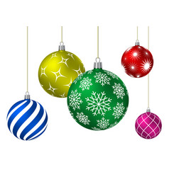 colored christmas balls with different patterns vector image