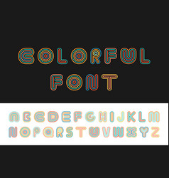 colorful striped funny font english alphabet vector image
