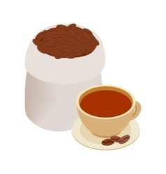 Cup of coffee and coffee beans icon vector image
