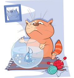 Cute Cat and Fish Aquarium Cartoon vector image