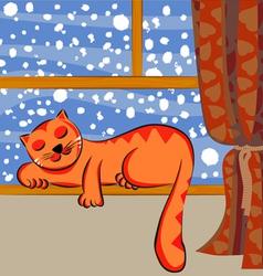 cute cat sleeping vector image