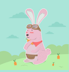 cute rabbit hand holding carrot cartoon vector image