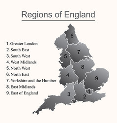 dark map of england with outline on white vector image