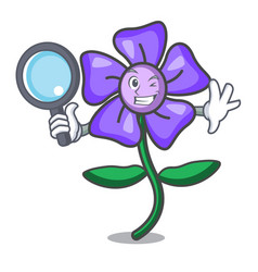 Detective periwinkle flower character cartoon vector
