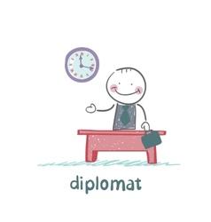 Diplomat sitting at a desk vector