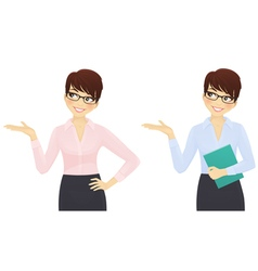 Elegant business woman showing looking up vector