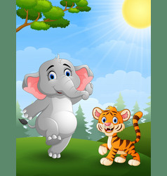 Elephant and tiger cartoon in the jungle vector
