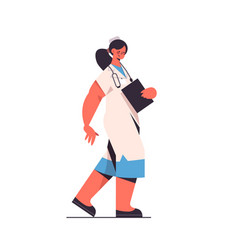 female doctor in uniform holding clipboard vector image