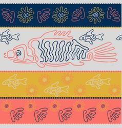 fish and shells point art australian aboriginal vector image