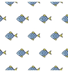 Fish line icon seamless pattern vector image