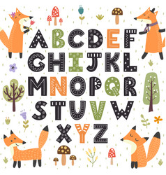 forest alphabet with cute foxes hand drawn vector image