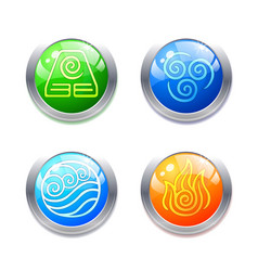 four elements symbols and alternative energy icons vector image