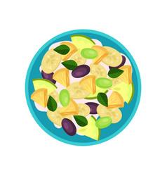 fruit salad made of banana pineapple plum green vector image