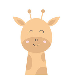 Giraffe face head icon kawaii animal cute cartoon vector