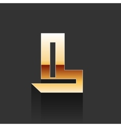 Gold Letter L Shape Logo Element vector image