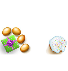 golden easter eggs cake and gift box on white vector image