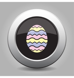 Grey button - Easter colored ornamental egg vector