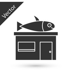 Grey seafood store icon isolated on white vector