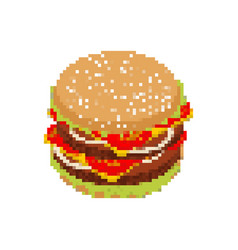 hamburger pixel art pixelated fast food isolated vector image