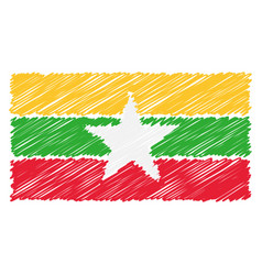 Hand drawn national flag of myanmar isolated on a vector