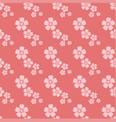 Hand drawn pink flower seamless pattern sketch vector