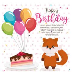 happy birthday card with fox vector image