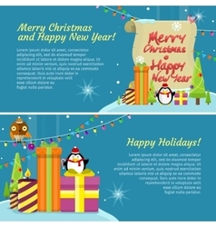 Happy Holidays Web Banner Merry Christmas vector