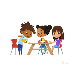 happy kids having breakfast by themselves two vector image