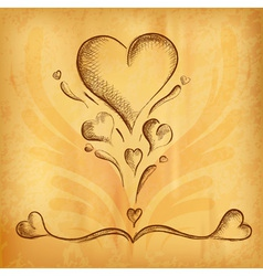 heart ornaments on the old paper vector image