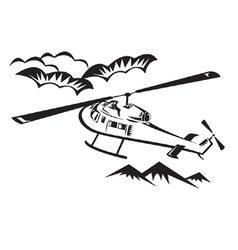 helicopter chopper flying vector image
