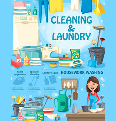 housework washing cleaning and laundry vector image