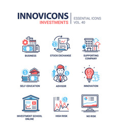 investments - modern line design icons set vector image