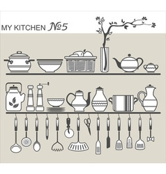 Kitchen utensils on shelves 5 vector image