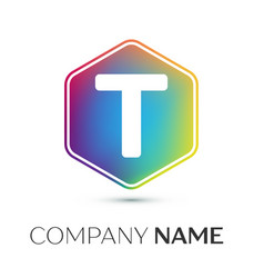 Letter t logo symbol in the colorful hexagonal on vector