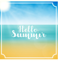 Lettering hello summer in white color in abstract vector