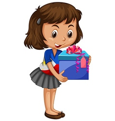 Little girl carrying box of present vector