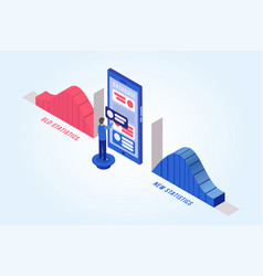 Man updating database isometric vector