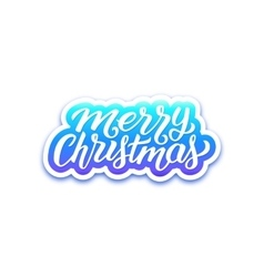 Merry Christmas greetings text on paper label vector