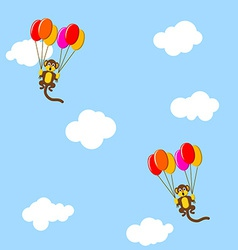 Monkeys in the sky with bubbles vector image