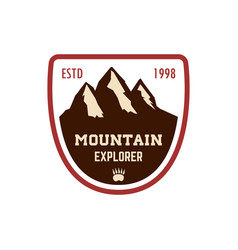mountain explorer emblem template with rock peak vector image