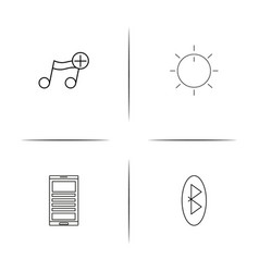 music simple linear icons set outlined icons vector image