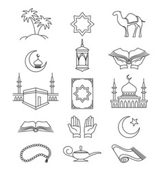 Muslim line signs for ramadan kareem vector