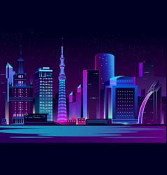 night city futuristic landscape background vector image