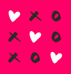 noughts and crosses with love on pink background vector image