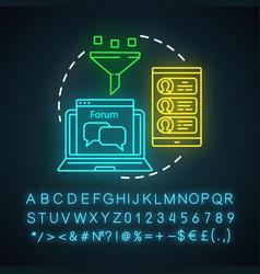 Online pr neon light icon digital marketing vector