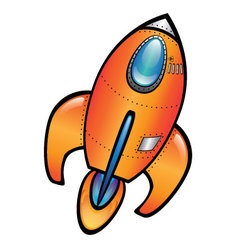 Orange Space Rocket vector image